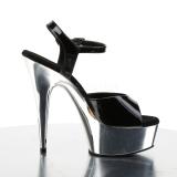 sølv krom platå 15 cm DELIGHT-609 pleaser høye hæler for kvinner