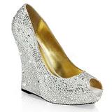 sølv krystall stein 13,5 cm ISABELLE-18 wedge pumps kilehæler sko