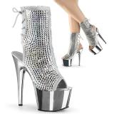 sølv krystall stein 18 cm ADORE-1018DCS dame ankelstøvletter platåsåle