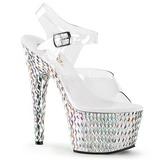 sølv krystall stein 18 cm BEJEWELED-708DS plateau høy hæl sko