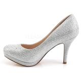 sølv krystall stein 9 cm COVET-02 høye pumps aftensko med hæl