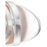 sølv kunstlær 10 cm DREAM-438 store størrelser ankelstøvletter dame