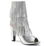 sølv kunstlær 10 cm QUEEN-100 store størrelser ankelstøvletter dame