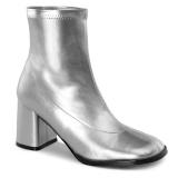 sølv kunstlær 7,5 cm GOGO-150 stretch støvletter med blokkhæl for kvinner