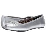sølv kunstlær ANNA-01 store størrelser ballerina sko