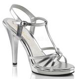 sølv lakkert 12 cm FLAIR-420 dame sandaletter lavere hæl