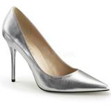 sølv matt 10 cm CLASSIQUE-20 dame pumps sko stiletthæl