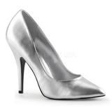 sølv matt 13 cm SEDUCE-420 dame pumps sko flate hæl