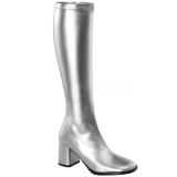 sølv matt 7,5 cm GOGO-300 høye damestøvler til menn