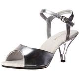 sølv matt 8 cm BELLE-309 dame sandaletter lavere hæl