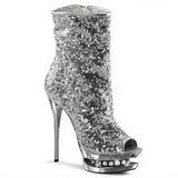 sølv paljetter 15,5 cm BLONDIE-R-1008 korte støvler platå