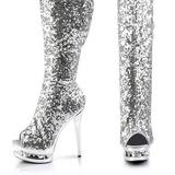 sølv paljetter 15 cm PLEASER BLONDIE-R-3011 overknee støvler platå