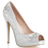 sølv satin 13 cm HEIRESS-22R strass platform pumps sko