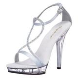 sølv satin 13 cm LIP-156 dame sandaletter lavere hæl