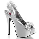 sølv satin 14,5 cm Burlesque TEEZE-56 platå høyhælte sandaler sko