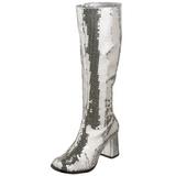 sølv spangle 8 cm SPECTACUL-300SQ høye damestøvler til menn