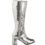 sølv spangle 8 cm SPECTACUL-300SQ høye støvler dame