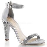 sølv strass 11,5 cm CLEARLY-436 høye fest sandaler med hæl