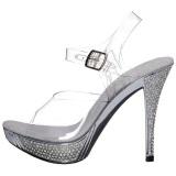 sølv strass 12 cm ELEGANT-408 platå høyhælte sandaler sko