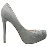sølv strass 13 cm DESTINY-06R høye platform pumps sko