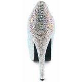 sølv strass 14,5 cm Burlesque TEEZE-06R høye platform pumps sko