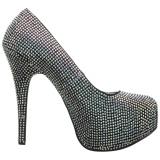 sølv strass 14,5 cm Burlesque TEEZE-06RW pumps for brede føtter til menn