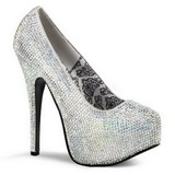sølv strass 14,5 cm TEEZE-06R høye platform pumps sko