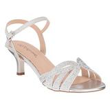 sølv strass 6,5 cm AUDREY-03 høye fest sandaler med hæl