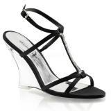svart 10,5 cm LOVELY-428 wedge sandaler med kilehæl