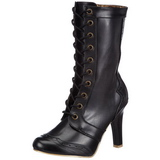 svart 10,5 cm TESLA-102 steampunk ankelstøvler dame