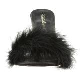svart 10 cm CLASSIQUE-01F dame slip ins med marabou fjær
