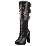 svart 10 cm CRYPTO-302 høye platåstøvler til dame med spenner