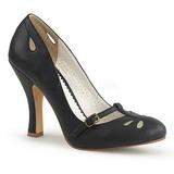 svart 10 cm SMITTEN-20 pinup pumps sko med lave hæler
