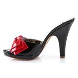 svart 10 cm retro vintage SIREN-06 pinup mules sko med sløyfe