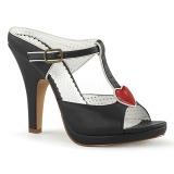 svart 10 cm retro vintage SIREN-09 høyhælte slipper sko