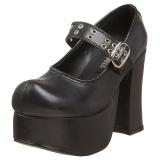 svart 11,5 cm CHARADE-05 lolita sko gothic dame platåsko med tykke såler