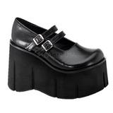 svart 11,5 cm KERA-08 lolita sko gothic wedge platåsko med kilehæler