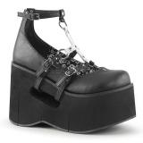 svart 11,5 cm KERA-09 lolita sko gothic wedge platåsko med kilehæler