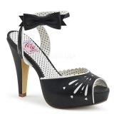 svart 11,5 cm Pinup retro vintage BETTIE-01 dame sandaler med hæl