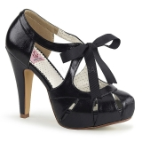 svart 11,5 cm retro vintage BETTIE-19 høye damesko med hæl