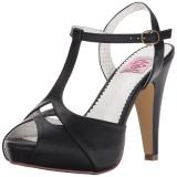 svart 11,5 cm retro vintage BETTIE-23 høye fest sandaler med hæl