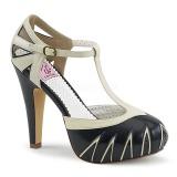 svart 11,5 cm retro vintage BETTIE-25 pinup pumps sko med skjult platå