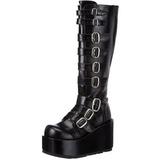 svart 11 cm CONCORD-108 lolita støvler gothic platå tykke såler