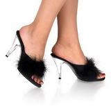 svart 11 cm Pleaser CARESS-401F marabou fjær høye sko mules