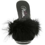 svart 12,5 cm GLITZY-501-8 marabou fjær høye sko mules