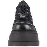 svart 12,5 cm STOMP-08 lolita sko gothic wedge platåsko med kilehæler