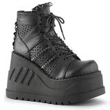 svart 12 cm STOMP-12 lolita sko gothic wedge platåsko med kilehæler