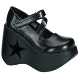 svart 13,5 cm DYNAMITE-03 lolita sko gothic wedge platåsko med kilehæler