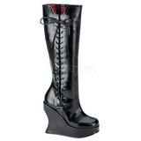 svart 13 cm BRAVO-100 wedge støvler med kilehæler platå