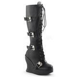 svart 13 cm BRAVO-109 wedge støvler med kilehæler platå